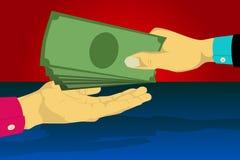 Räcka att bära en dräkt som ger pengar till annan hand Arkivbild