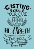 Räcka att märka all din omsorg som gjutas på honom, for han att bry sig för dig vektor illustrationer