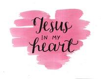 Räcka att märka Jesus i min hjärta på vattenfärgbackgroup royaltyfri fotografi