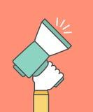 Räcka att rymma en megafon, digitalt marknadsföringsbegrepp stock illustrationer