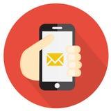 Räcka att rymma en telefon, lägenhetstilsymbolen, vektorillustration royaltyfri illustrationer