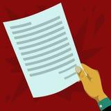 Räcka att rymma ett pappers- dokument som inte har undertecknats vektor illustrationer