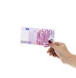 Räcka att rymma 500 europengar isolerade på vit bakgrund Royaltyfria Bilder