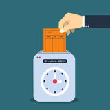 Räcka att sätta det pappers- kortet i maskin för tidregistreringsapparat vektor illustrationer