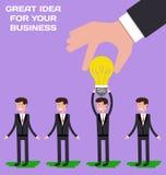 Räcka att välja arbetaren som har idé från gruppen av affärsmän stock illustrationer