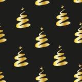 Räcka attraktion guld- gran-träd och stjärnor på svart bakgrund royaltyfri illustrationer