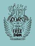 Räcka bokstäver, var anden av Herren är, där är frihet Royaltyfria Foton