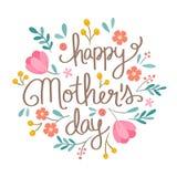 Räcka den blom- illustrationen för den utdragna lyckliga dagen för moder` s Arkivfoton