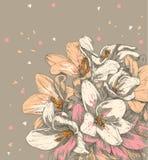 Räcka den dra blomman Royaltyfri Foto