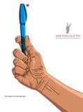 Räcka den hållande pennan, illustration är redigerbart, sätter något objekt Arkivbild