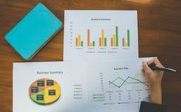 räcka den hållande pennan med den affärsöversikts- eller för affärsplanet rapporten med diagram och grafer i affärsidé Arkivfoto