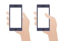 Räcka den hållande smartphonen med tomt avskärmer royaltyfri illustrationer