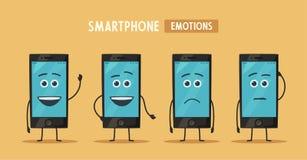 Räcka den hållande smartphonen med tomt avskärmer missbelåten illustration för pojketecknad film little vektor mobil ny telefon royaltyfri illustrationer