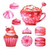 Räcka den målade illustrationen med den vattenfärgmakron, marshmallower, koppen med kaffe och muffin vektor illustrationer