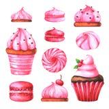 Räcka den målade illustrationen med den vattenfärgmakron, marshmallower och muffin royaltyfri illustrationer