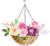 Räcka den målade mallen för vattenfärgmodellclipart av rosor royaltyfri bild