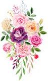 Räcka den målade mallen för vattenfärgmodellclipart av rosor Arkivbilder