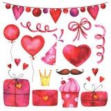 Räcka den målade uppsättningen för konst för gemet för dagen för valentin` s vektor illustrationer