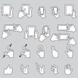 Räcka den rörande mobiltelefonen och den Digital minnestavlan, vektorn EPS10 stock illustrationer