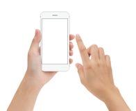 Räcka den rörande telefonen den mobila skärmen som isoleras på vit, åtlöje upp sma Royaltyfria Foton