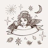 Räcka den utdragna ängeln, religiöst symbol av kristendomen som den realistiska vektorn skissar stock illustrationer
