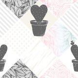 Räcka den utdragna blom- patchworken den sömlösa modellen med kaktuns modern abstrakt bakgrund Arkivfoto