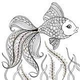 Räcka den utdragna dekorativa fisken för för anti-spänningsfärgläggningsidan Hand dragen svart dekorativ fisk som isoleras på vit royaltyfri illustrationer