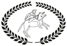 Räcka den utdragna dekorativa logoen med gammalgrekiskakrigaren Royaltyfri Illustrationer