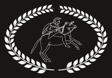 Räcka den utdragna dekorativa logoen med gammalgrekiskakrigaren, negation Stock Illustrationer