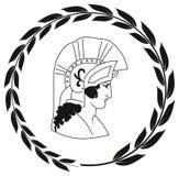 Räcka den utdragna dekorativa logoen med huvudet av gammalgrekiskakrigaren Stock Illustrationer