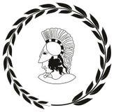 Räcka den utdragna dekorativa logoen med huvudet av gammalgrekiskakrigaren Royaltyfri Foto