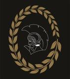 Räcka den utdragna dekorativa logoen med huvudet av gammalgrekiskakrigaren, negation Stock Illustrationer