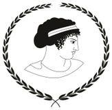 Räcka den utdragna dekorativa logoen med huvudet av gammalgrekiskakvinnor Arkivbild