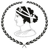 Räcka den utdragna dekorativa logoen med huvudet av gammalgrekiskakvinnor Royaltyfri Bild