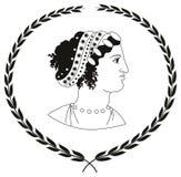 Räcka den utdragna dekorativa logoen med huvudet av gammalgrekiskakvinnor Stock Illustrationer