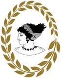 Räcka den utdragna dekorativa logoen med huvudet av gammalgrekiskakvinnor Royaltyfri Illustrationer