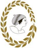 Räcka den utdragna dekorativa logoen med huvudet av gammalgrekiskakvinnor Royaltyfri Foto