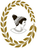 Räcka den utdragna dekorativa logoen med huvudet av gammalgrekiskakvinnor Vektor Illustrationer