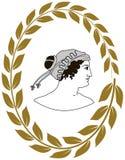 Räcka den utdragna dekorativa logoen med huvudet av gammalgrekiskakvinnor Arkivbilder
