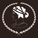 Räcka den utdragna dekorativa logoen med huvudet av gammalgrekiskakvinnor, negation Stock Illustrationer