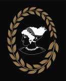 Räcka den utdragna dekorativa logoen med huvudet av gammalgrekiskakvinnor, negation Royaltyfria Bilder