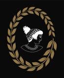 Räcka den utdragna dekorativa logoen med huvudet av gammalgrekiskakvinnor, negation Royaltyfri Fotografi