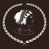 Räcka den utdragna dekorativa logoen med huvudet av gammalgrekiskakvinnor, negation Royaltyfri Illustrationer