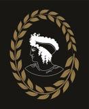 Räcka den utdragna dekorativa logoen med huvudet av gammalgrekiskakvinnor, negation Arkivbilder