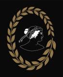 Räcka den utdragna dekorativa logoen med huvudet av gammalgrekiskakvinnor negativt Arkivbild