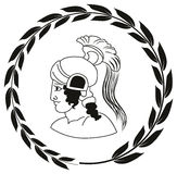 Räcka den utdragna dekorativa logoen med huvudet av gammalgrekiskawarrioen Royaltyfri Illustrationer