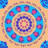 Räcka den utdragna dekorativa runda färgrika ljusa prydnaden med blomman Vektor Illustrationer