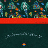 Räcka den utdragna dekorativa sjöjungfrun, hav-hästen och calmar Saga Royaltyfria Bilder