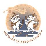 Räcka den utdragna gulliga björnen med pilbågen, pilen och fjädern royaltyfri illustrationer
