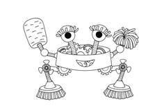 Räcka den utdragna gulliga hushållerskaroboten för designbeståndsdelen och sidan för färgläggningbok för båda ungar och vuxna män vektor illustrationer